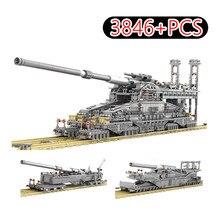 3846 pçs militar ww2 pesado tanque conjunto de tijolos gustav k5e alemão ferroviário arma dora blocos de construção modelos brinquedo do miúdo para crianças presentes