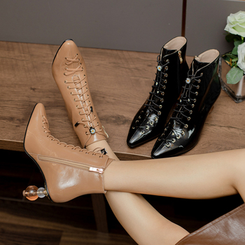 Women ankle boots natural leather online celebrity Cow split Wrinkled patent pointed toe women