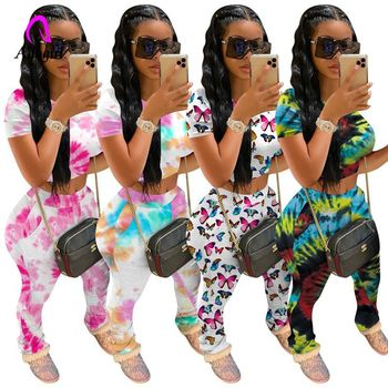 Tie Dye Two Piece Set Women Tracksuit Fitness Summer Casual Outfits Crop Top Stacked Pants Sweat Suit Lounge Wear Matching Sets tie dye two piece set women tracksuit fitness summer casual outfits crop top stacked pants sweat suit lounge wear matching sets
