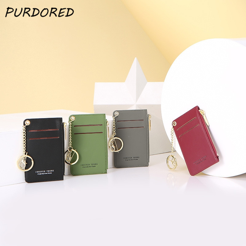 PURDORED 1 Pc Women Slim Card Holder PU Leather Mini Business Cards Case Mini Lady Coin Purse Wallet Money Card Case Tarjetero