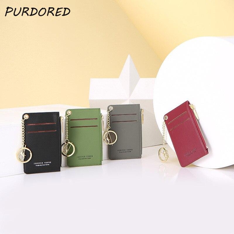 PURDORED 1 Pc Women Slim Card Holder PU Leather Mini Business Cards Case Mini Lady Coin Purse Wallet Money Card Case Tarjetero