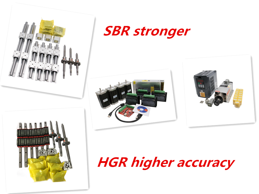 Free shipping linear guide HGR15/HGR20/SBR16/SBR20+ball screw SFU1605/1610+Nema23 stepper motor kit+spindle kit for cnc router