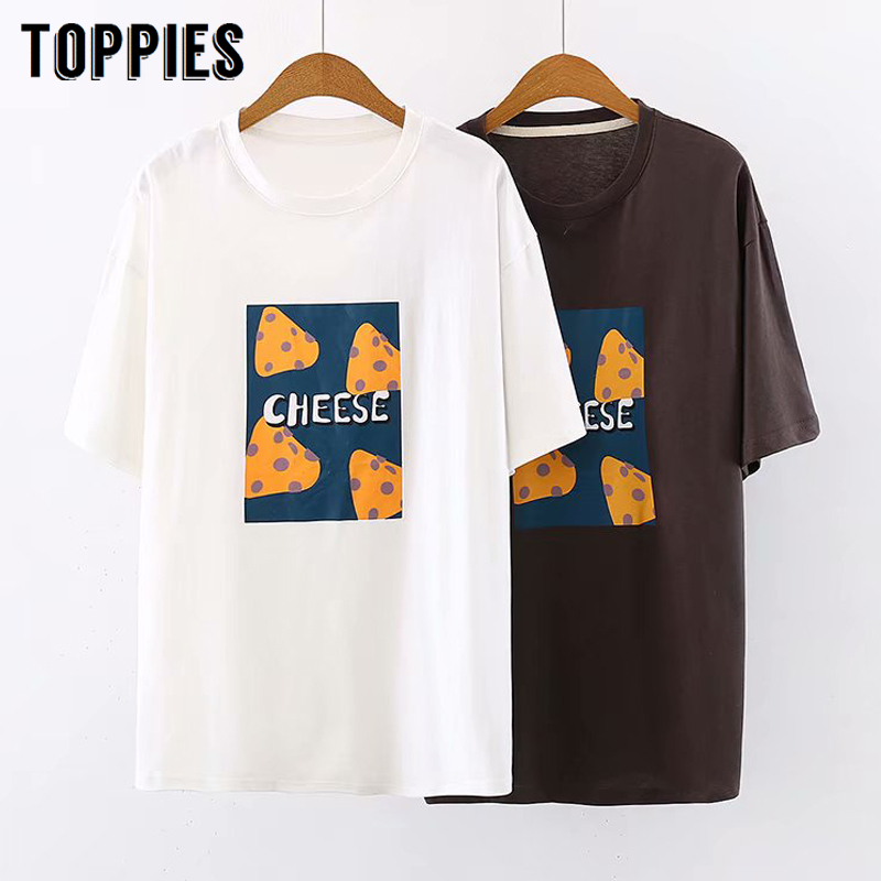 casual cheese printing t-shirts women short sleeve white tops solid color summer tops tees