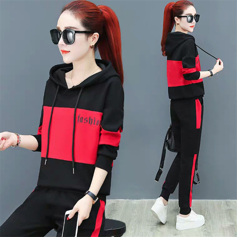 2020 Spring Autumn New Sports Suit Female Casual Korean Loose Hooded Sweatshirt Plus Size Women Two Piece Set Top And Pants