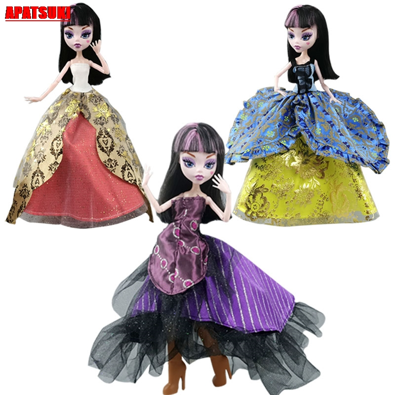 Mix Color Patchwork Cosplay Party Dress For Monster High Doll Evening Gown Costume For Monster Doll Outfits Clothes DIY Kids Toy