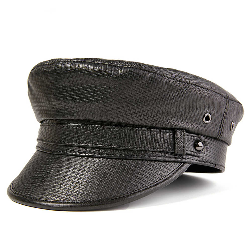 BUTTERMERE צבאי כובע גברים נשים אמיתי עור סיילור כובע לבן שחור חום סתיו חורף זכר עור אמיתי צבאי כובע