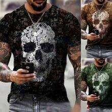 Camiseta con estampado de calavera en 3D, ropa de calle retro de manga corta a la moda para hombre, nueva ropa de moda de verano