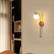 Applique murale LED en forme de boule de verre, lustre doré moderne, éclairage pour couloir, allée, chevet, arrière-plan de la télévision, décoration intérieure, accessoires