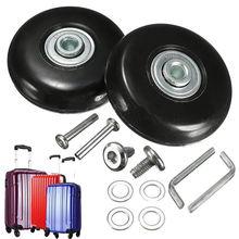 Deluxe Black 2 zestaw walizka bagażowa koła zapasowe naprawa OD 50mm osie nowość tanie tanio Metal 0 17kg Polyurethane Rubber Wheel Polyurethane Rubber Wheel + Metal