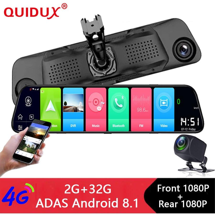 QUIDUX 12 Inch Android 8.1 Car DVRs Camera GPS Navi Bluetooth FHD 1080P Mirror Recorder