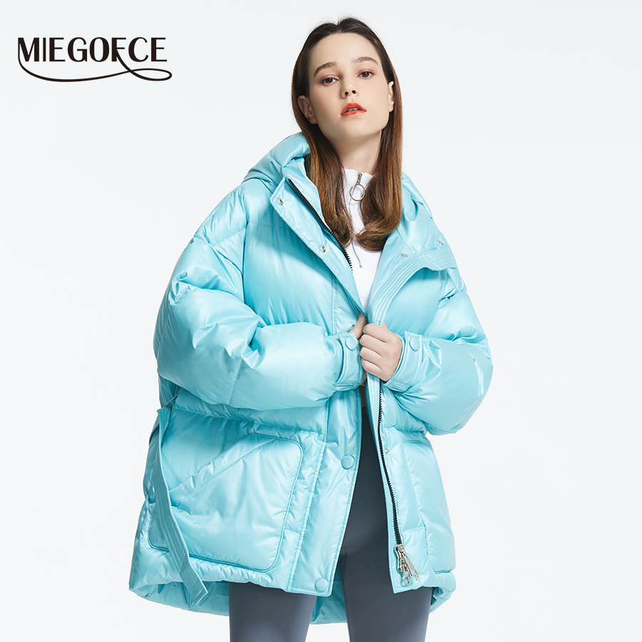 Image 2 - MIEGOFCE 2019 New Winter Women's Jacket High Quality Bright Colors Insulated Puffy Coat collar hooded Parka Loose Cut With Belt-in Parkas from Women's Clothing