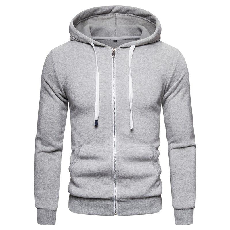 2019 New Autumn Winter Cotton Hoodied Mens Sweatshirts Solid Hoody Fleece Thick Hoodies Men Sportswear Zipper Sweatshirts Men 7