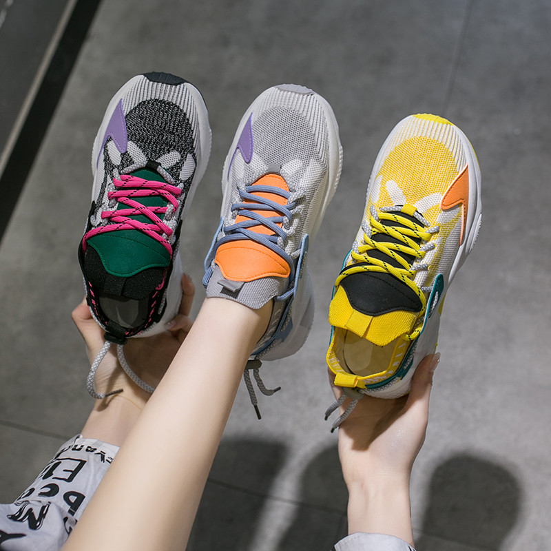 Women Running Shoes Popular Flyknit Outdoor Sneaker Women Breathable Light Lace-up Sports Shoes Non-slip Fitness Training Shoes