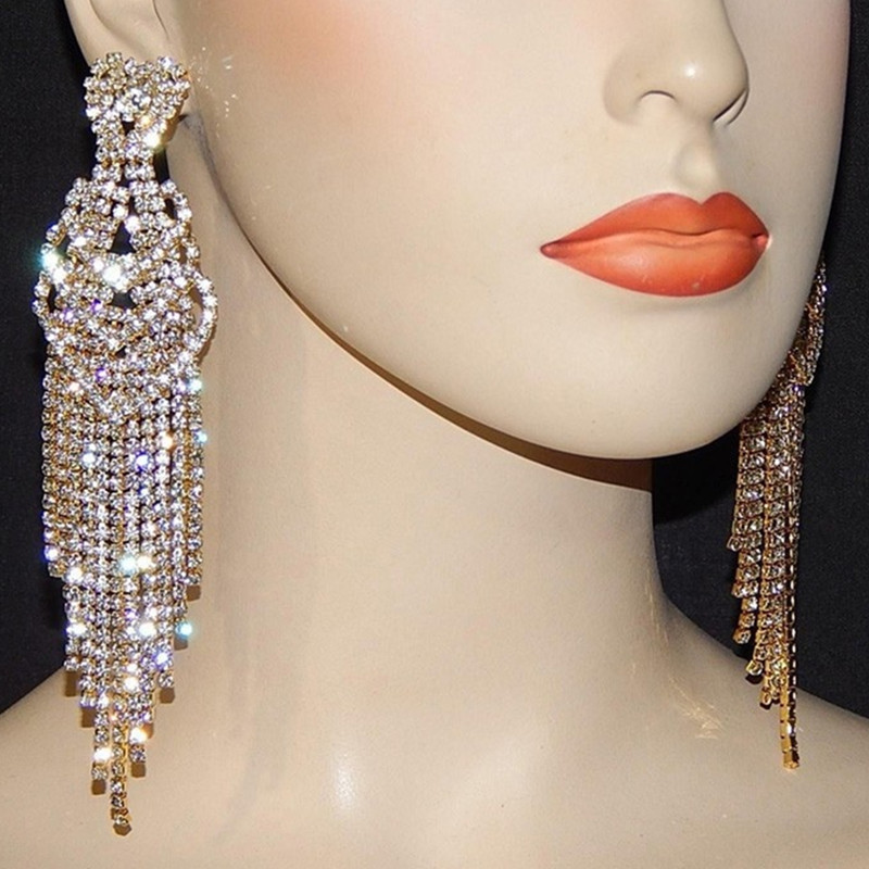 SHEVALUES Crystal Diamante Rhinestone Long Tassel Earrings Heart Drop Dangle Big Earrings Women Ladies Wedding Bridal Earrings