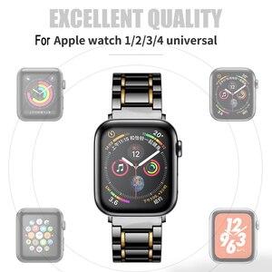 Image 5 - Keramik watcn band Für Apple Uhr 4 5 44mm 40mm Armband für iwatch 3 2 38mm 42mm Keramik Mit Edelstahl Armband armband