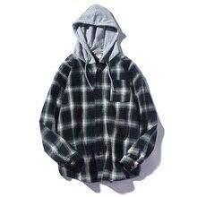 New Fashion Skateboard StreetWear HIgh Street Shirt Men Black White Plaid Cap Shirts Tide Brand Hip Hop With Hats