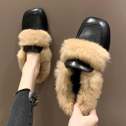 2019 autumn new Korean literary retro style fashion simple square head rabbit hair comfortable half slippers 22