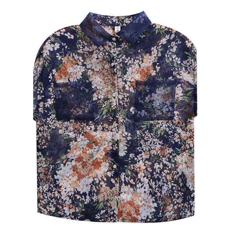 Summer Blouse Sleeveless Shirts Women Vintage Floral Print Blouses Ladies Tops 2021 Blusas Mujer Casual Chiffon shirt 10225 6