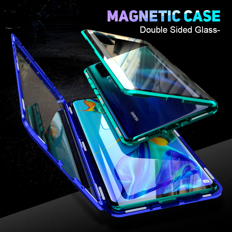 360 Full Magnetic Case for huawei p30 lite Front Back Glass Case on huwei p30 lite p 30 light 30lite Magnet Tempered Glass Cover|Flip Cases| |  - title=