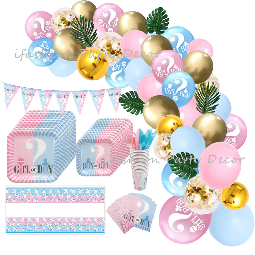 Gender Reveal Party Balloon Decorations Disposable Tableware Set Plates Cups Baby Shower Boy or Girl Birthday Party Supplies