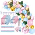 Пол раскрыть вечерние украшения набор одноразовой посуды воздушные шары пластины чашки, ребенок, душ мальчик или девочка День рождения веч...
