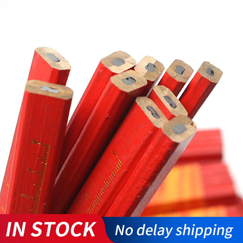 1/5/10PCS/Lot Carpenters Pencils Black Lead For DIY Builder Joiners Woodworking Black Thick Core Flattened Mark Pen Pencil