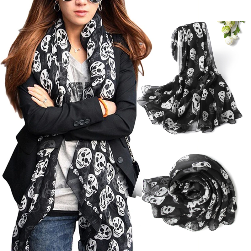 Summer Beach Long Shawl Fahion Man Scarf Mulim Skull For Women Chiffon Hijab Print 50*150cm Silk Thin Soft