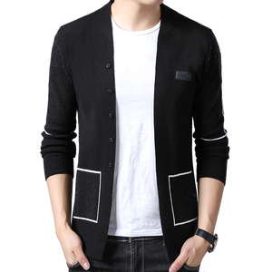 Image 1 - BROWON Brand Men Knitted Button Cardigans Sweaters New Casual Men Pullover V Neck Outerwear Clothing Black Grey Sweater Men