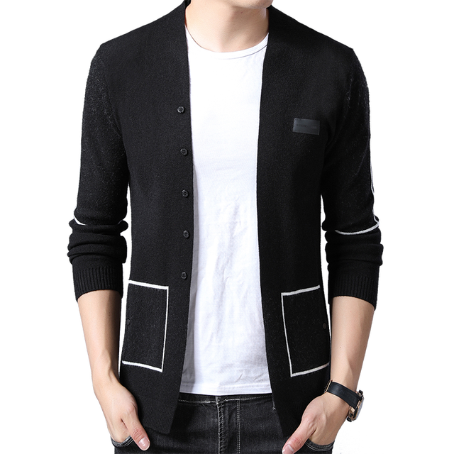 BROWON Brand Men Knitted Button Cardigans Sweaters New Casual Men Pullover V Neck Outerwear Clothing Black Grey Sweater Men