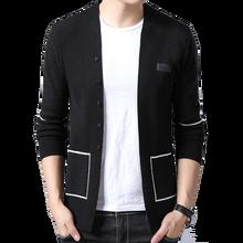 BROWONยี่ห้อผู้ชายถักCardigansเสื้อกันหนาวใหม่ลำลองผู้ชายPullover VคอOuterwearเสื้อผ้าสีดำสีเทาเสื้อกันหนาวผู้ชาย