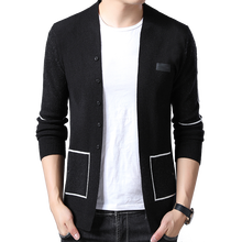 BROWON marque hommes tricoté bouton Cardigans chandails nouveau décontracté hommes pull vêtements de sortie à col en v vêtements noir gris pull hommes
