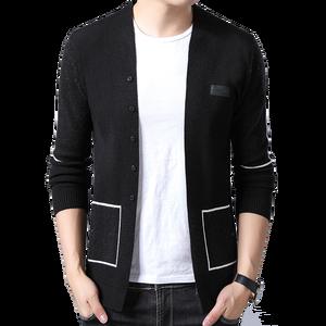 Image 1 - Бренд BROWON, мужские вязаные кардиганы на пуговицах, свитера, новый повседневный мужской пуловер, одежда с вырезом, одежда, черный, серый свитер для мужчин