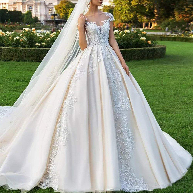 Vintage, Satin Ball Gown Style, Floor Length Wedding Dress