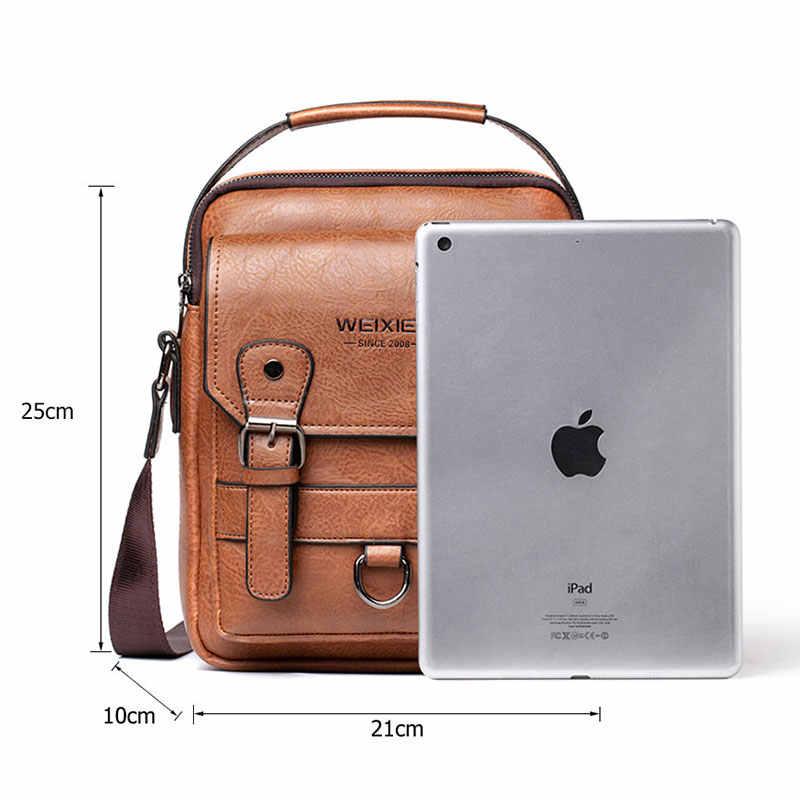Yeni erkek Crossbody omuzdan askili çanta çok fonksiyonlu erkekler çanta büyük kapasiteli Split deri çanta erkek postacı çantası Tote çanta