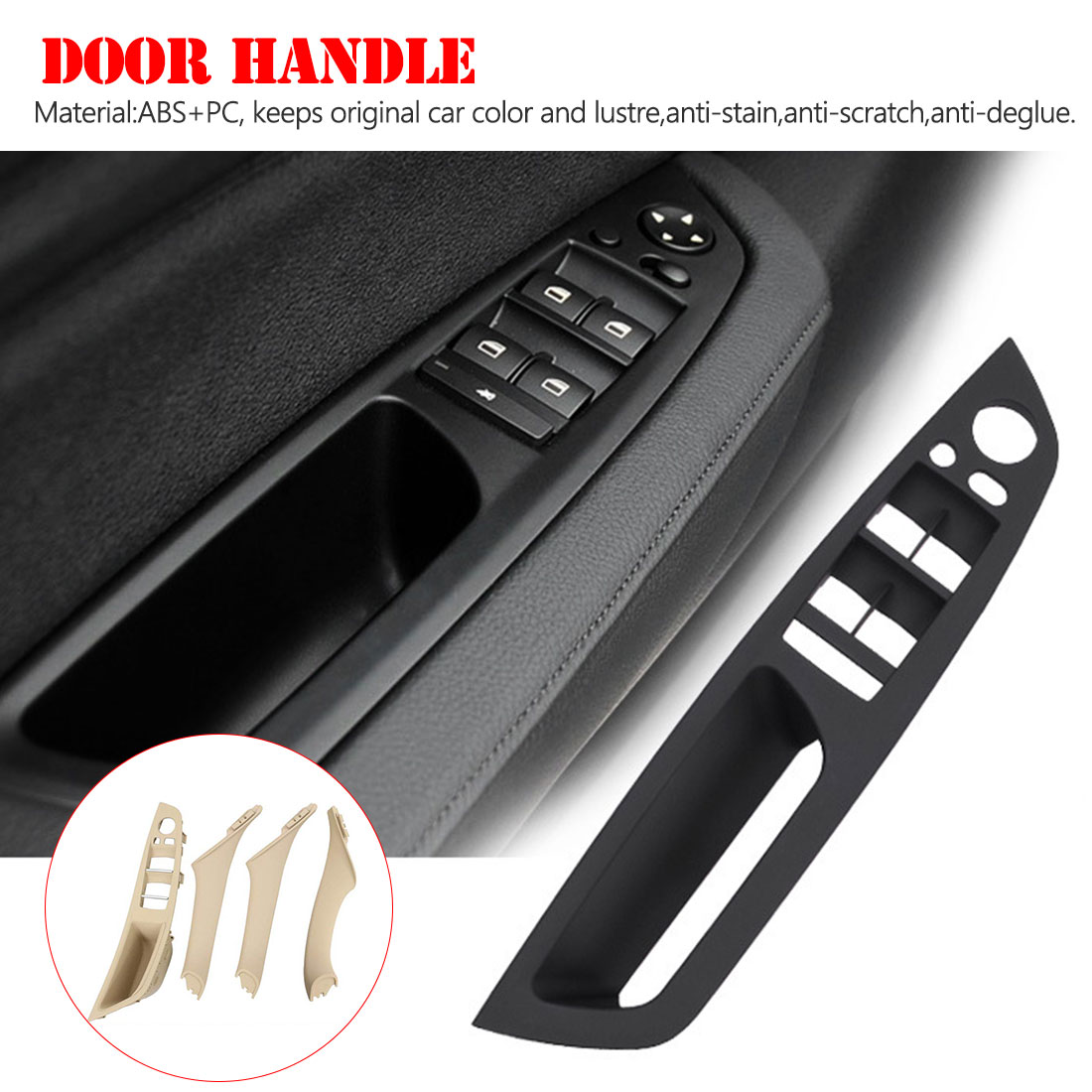 For BMW E71 Front Driver Left Inner Door Panel Handle Pull Trim Cover Black OES