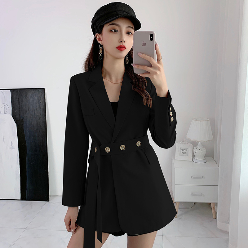 Women's large size solid color high quality ladies blazer 2020 new autumn and winter slim female mid-length jacket Trendy suit