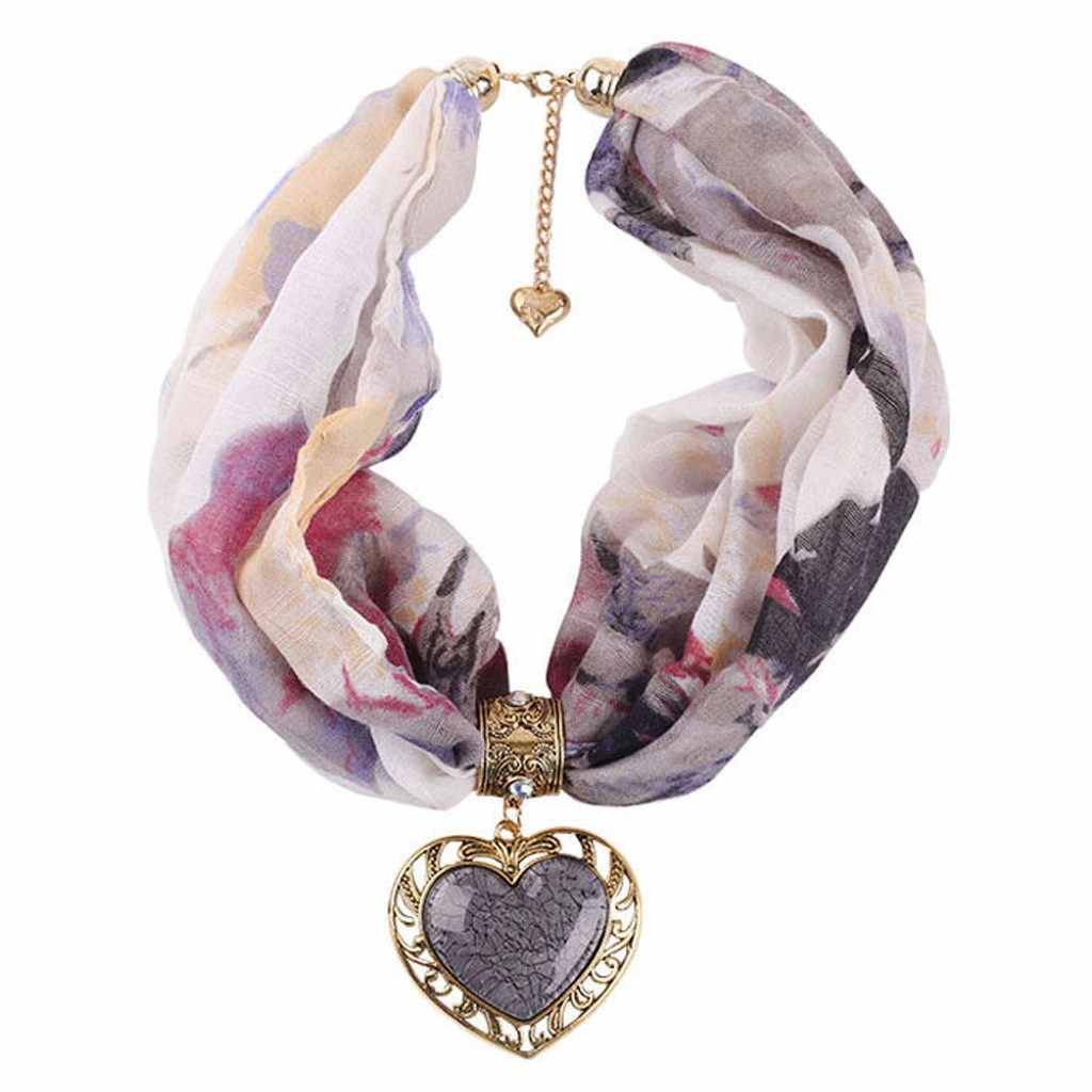 Wanita BoHo Pantai Selendang Hati Cinta Gaya Nasional Kasual Bungkus Lembut Kalung Syal Perhiasan Bungkus Foulard Perempuan Aksesoris # A