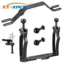 DSLR Diving Dual Handheld Tray Bracket with Clip Screw Adapter Top Handle Shutter Extension Sports Camera Underwater Photography