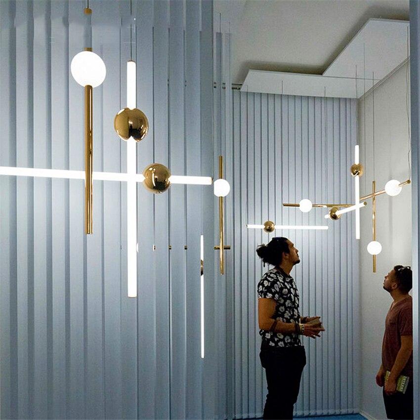 Orion Tubo Luzes do Pendente para Sala de estar moderna Levou Ouro Pendurado Decoração Da Lâmpada Quarto Cozinha Casa de Loft Industrial Luminárias