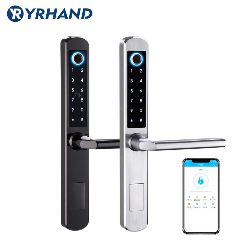 European Waterproof Biometric Fingerprint Door Locks Electronic Smart Door Lock RFID Card Code Lock For Aluminum Glass Door