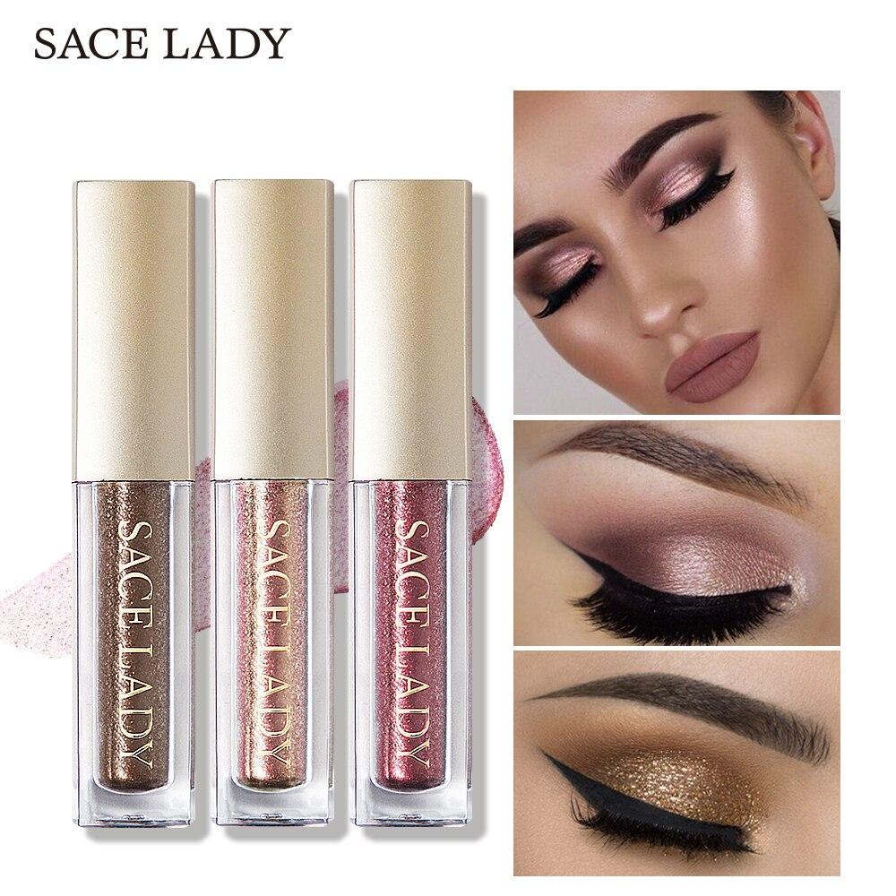 SACE LADY Glitter Eyeshadow Makeup Liquid Shimmer Eye Shadow Metals Illuminator Glow Make Up Highlighter Cream Cosmetic