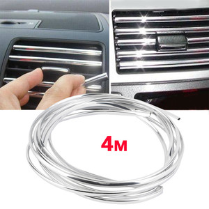 4 Meter Car Accessories DIY Car Interior Air Conditioner Outlet Vent Grille Chrome Decoration Strip Silvery car styling 20Arl8