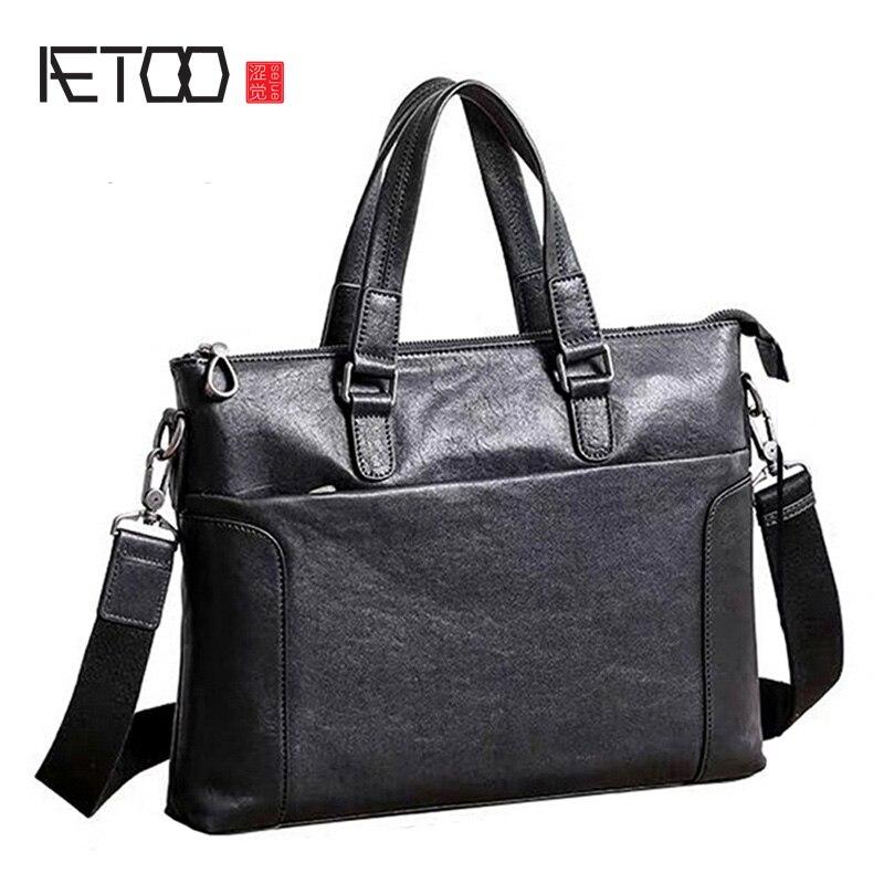 AETOO New Briefcase Men's Leather Business Handbag Head Layer Cowhide Large Capacity Horizontal Simple Men's Bag