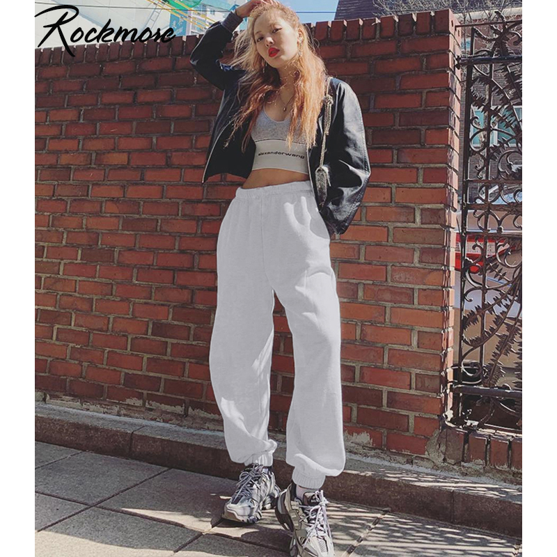 Rockmore Gray Harajuku High Waisted Trousers Women Jogger Hip Hop Pants Women Black Pencil Pants High Waist Joggers Sweatpants