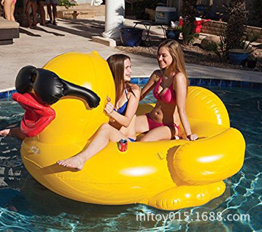 Commerce extérieur gonflable flottant rangée gonflable jaune canard flottant rangée 220cm canard eau flottante rangée masse personnalisation