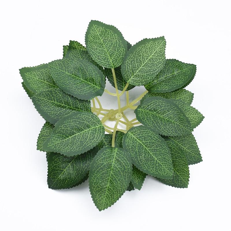 20PCS Silk Rose Leaves Cheap Artificial Plants Christmas Leaf Home Decor Wedding Bridal Accessories Clearance Decorative Flowers