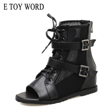 E TOY WORD Women Sandals 2019 Spring Summer Roman Mesh Lace Up Comfortable Height Increaseing Shoes boots
