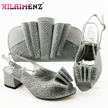 Silver Latest Comfortable Shoes and Bags Set African Sets 2019 Italian Shoes and Matching Bags Women Rhinestone Wedding Shoe