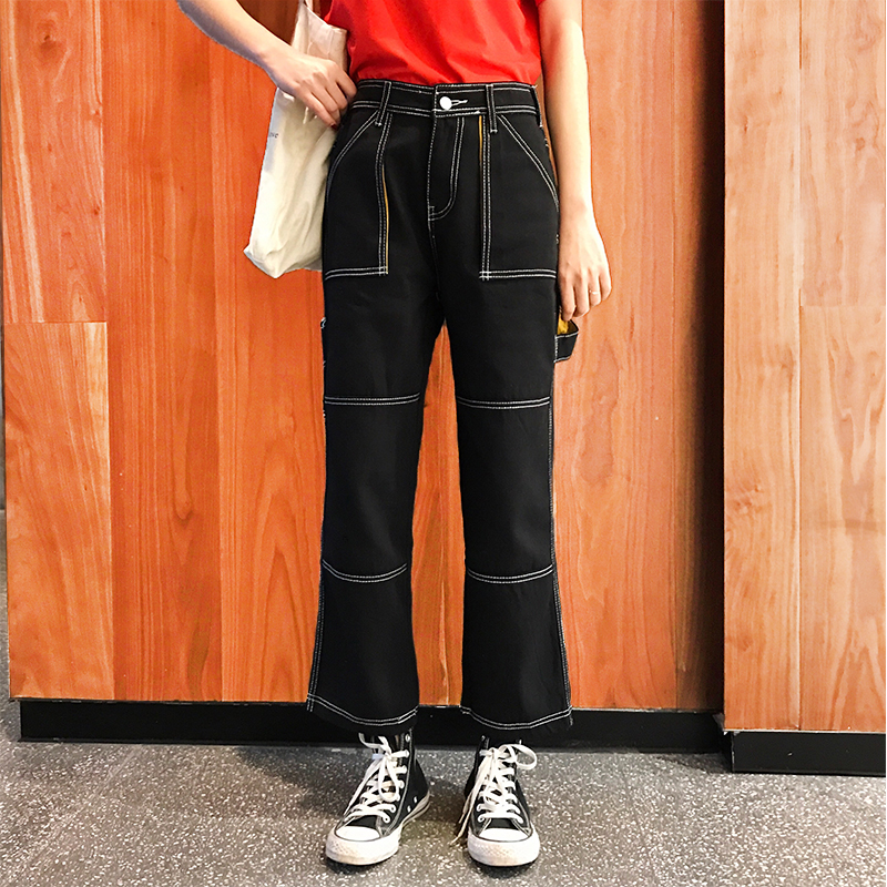 Women Harajuku Black Jeans Cool Girl  Streetwear Wide Leggs Autumn Spring Large Size Korean Style Female's Bottom Trousers B63