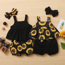 3Pcs Newborn Baby Girls Summer Clothes Cute Beach Boho Strap Ruffle Romper Floral Shorts Toddler Outfit Baby Girls Clothing